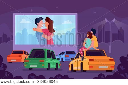 Car Cinema Romantic Movie Theater And Couple Watching Movie In Car, Vector Cartoon Background. Drive