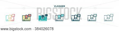 Vlogger Icon Designed In Gradient, Filled, Two Color, Thin Line And Outline Style. Vector Illustrati
