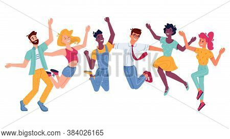 Happy People Jumping, Smiling In Joy And Fun With Hands Up, Vector Flat Illustration. Young Girls, B