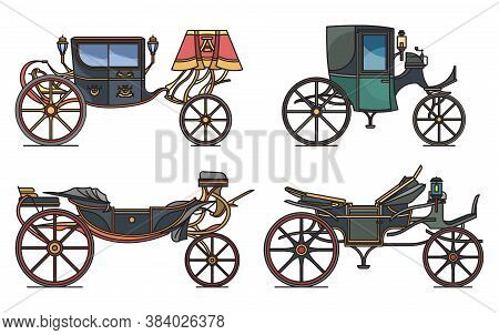 Set Of Retro Cab Or Carriage, Medieval Chariot