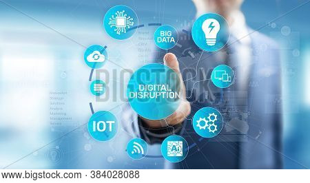 Digital Disruption. Disruptive Business Ideas. Iot, Network, Smart City, Big Data, Cloud, Analytics,