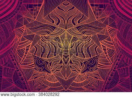 Psychedelic Trippy Colorful Fractal Mandala, Gradient Bright Crimson, Orange, Yellow Colors Outline,