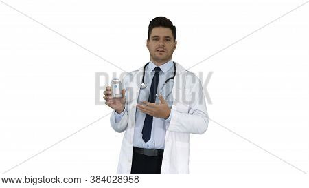 Clinician Doctor Man Showing Drugs Medication And Talking To Camera On White Background.