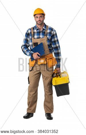 Contractor Worker In Coveralls And Hardhat With Toolbox And Document Folder Isolated On White Backgr