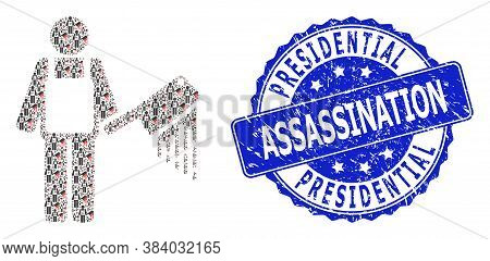 Presidential Assassination Corroded Round Seal And Vector Recursive Mosaic Bloody Butcher. Blue Seal
