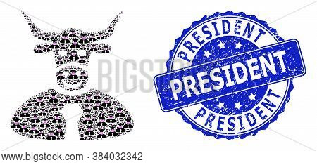 President Dirty Round Stamp Seal And Vector Recursive Mosaic Bull Boss. Blue Seal Includes President