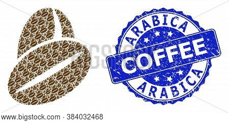 Arabica Coffee Unclean Round Seal Imitation And Vector Recursive Mosaic Cacao Beans. Blue Stamp Seal