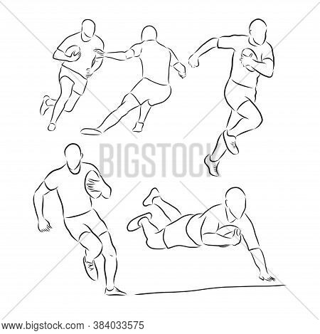 Running Rugby Player, Abstract Black Vector Silhouette, Rugby Player, Vector Sketch Illustration