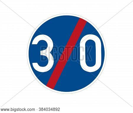 End Command Road Sign. Minimum Speed Limit. Vector Traffic Sign.