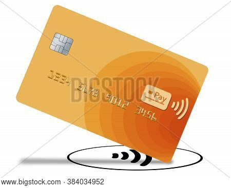 A Tap To Pay Credit Or Debit Card That Is A Mock Generic Version Is Seen Being Tapped On A Tap To Pa