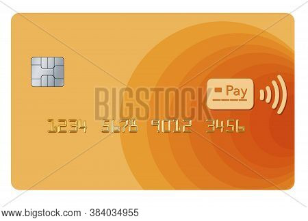 A Tap To Pay Credit Or Debit Card That Is A Mock Generic Version Is Seen Isolated On A White Backgro