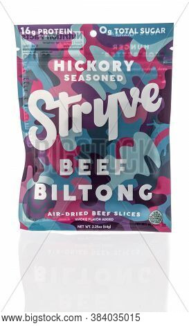 Winneconne , Wi - 28 August 2020:  A Package Of Stryve Hickory Biltong On An Isolated Background.