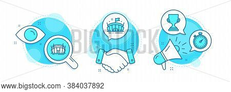 Arena, Award Cup And Arena Stadium Line Icons Set. Handshake Deal, Research And Promotion Complex Ic