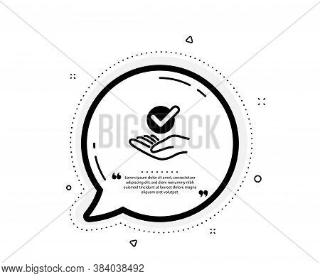 Approved Icon. Quote Speech Bubble. Accepted Or Confirmed Sign. Verified Symbol. Quotation Marks. Cl