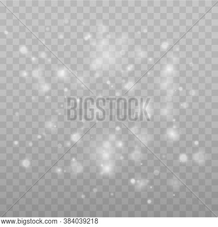Sparkling Magical Dust Particles. Bokeh Effect. Star Dust Sparks In An Explosion. White Sparks Glitt