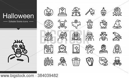 Halloween Icons. Modern Line Design. For Presentation, Graphic Design, Mobile Application Or Ui. Edi