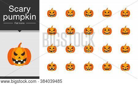 Scary Pumpkin Icons. Flat Design. For Presentation, Mobile Application, Web Design. Vector Illustrat