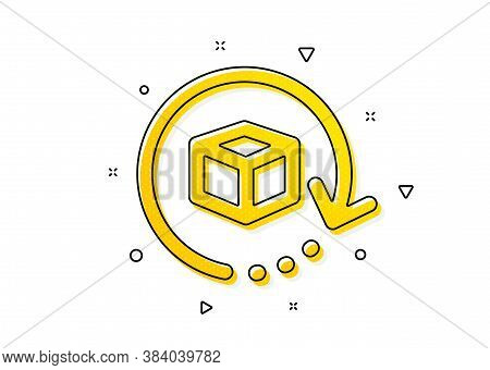 Delivery Parcel Sign. Return Package Icon. Cargo Goods Box Symbol. Yellow Circles Pattern. Classic R
