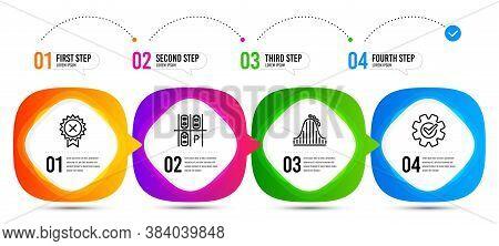 Cogwheel, Roller Coaster And Parking Place Line Icons Set. Timeline Steps. Reject Medal Sign. Engine