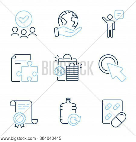 Agent, Capsule Pill And Shopping Bags Line Icons Set. Diploma Certificate, Save Planet, Group Of Peo