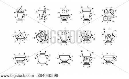 Mocha, Cappuccino And Latte. Coffee Types And Tea Icons. Americano Cup Linear Icon Set. Geometric El
