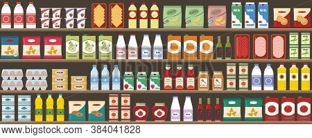 Supermarkets Shelves With Products And Drinks. Seamless Pattern. Shopping And Food Retail Concept. V