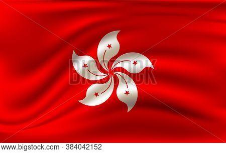 Hongkong Waving Flag. Hongkong National Flag Background Texture. Vector Illustration.