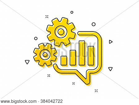 Engineering Tool Sign. Cogwheel Chat Icon. Cog Gear Symbol. Yellow Circles Pattern. Classic Cogwheel