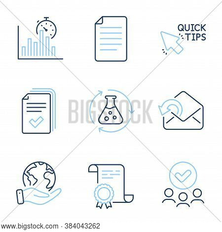 Handout, Quick Tips And Chemistry Experiment Line Icons Set. Diploma Certificate, Save Planet, Group