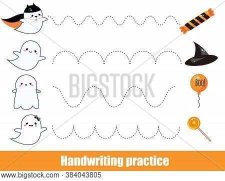 Halloween Game. Handwriting Practice Sheet. Early Education Worksheet For Kids And Toddlers. Printab