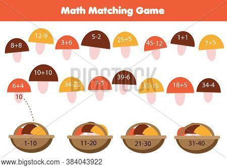 Mathematics Children Educational Game . Match Objects With Numbers. Study Addition And Subtraction F