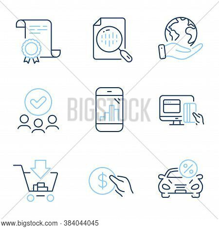 Shopping, Car Leasing And Online Payment Line Icons Set. Diploma Certificate, Save Planet, Group Of