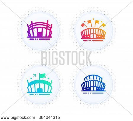 Arena Stadium, Sports Arena And Sports Stadium Icons Simple Set. Button With Halftone Dots. Sport Co