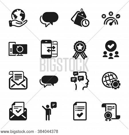 Set Of Education Icons, Such As Time Management, Approved Checklist. Certificate, Approved Group, Sa