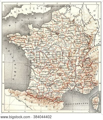 Departments of France, From the Dictionary of Word and Things, 1888.