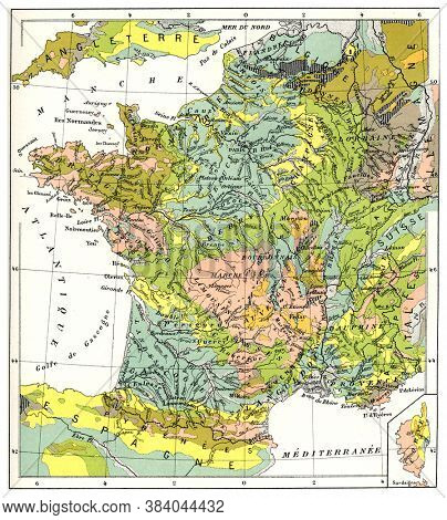 Geological France, From the Dictionary of Word and Things, 1888.