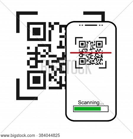 Mobil Scan Flat Icon Isolated On White Background. Qr Code Reader Vector Illustration