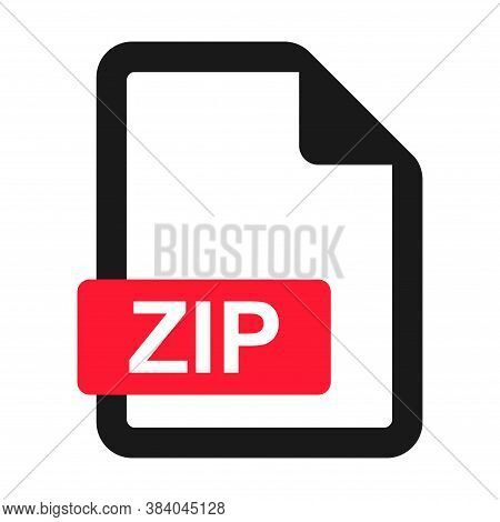 File Zip Flat Icon Isolated On White Background. Zip Format Vector Illustration