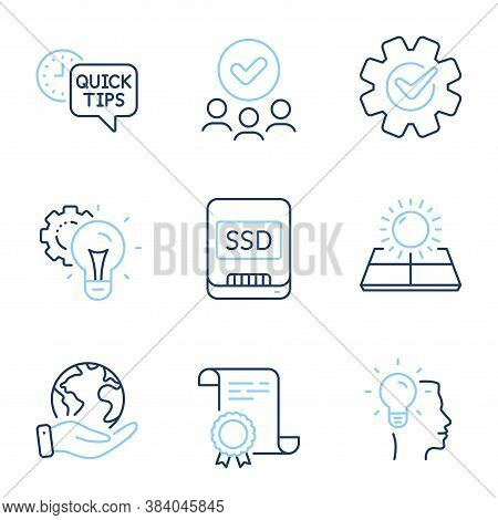 Idea, Sun Energy And Quick Tips Line Icons Set. Diploma Certificate, Save Planet, Group Of People. S