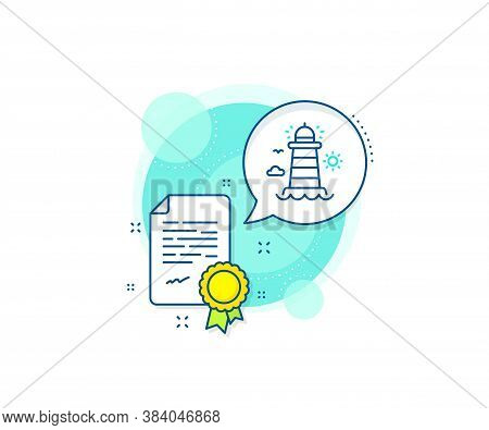 Beacon Tower Sign. Certification Complex Icon. Lighthouse Line Icon. Searchlight Building Symbol. Ce