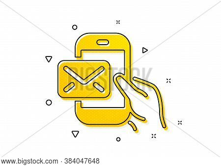 New Newsletter Sign. Messenger Mail Icon. Phone E-mail Symbol. Yellow Circles Pattern. Classic Messe