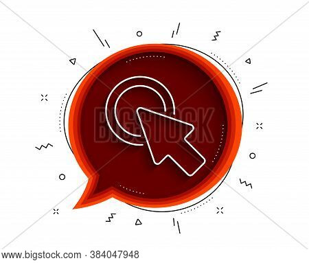 Click Here Line Icon. Chat Bubble With Shadow. Push The Button Sign. Web Cursor Symbol. Thin Line Cl