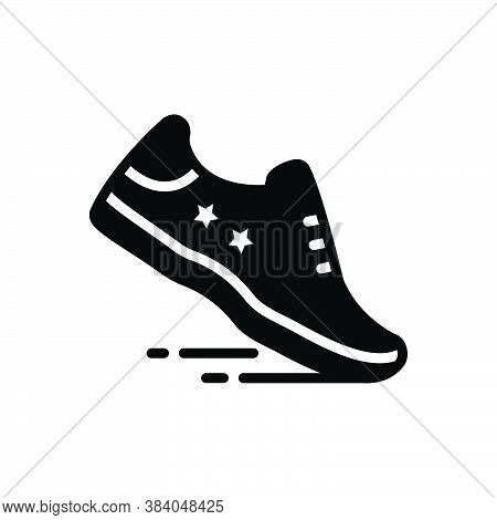 Black Solid Icon For Running-shoe Running Shoe Sport Jogging Athletic Workout Footwear Brogue Footge