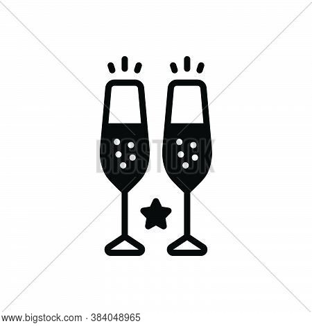 Black Solid Icon For Champagne-glasses Toast Drunk Alcohol Celebrate Wineglass Cocktail Wine