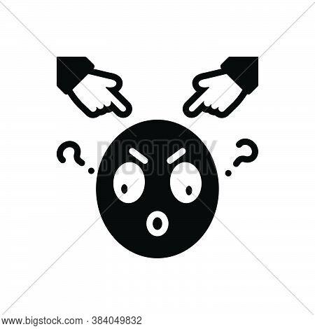 Black Solid Icon For Impose Inflict Blame Rebuke Saddle Arraign Incriminate Impeach Emoji