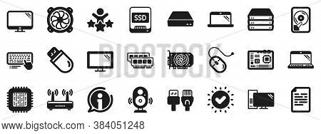 Motherboard, Cpu, Internet Cables Icons. Computer Components, Laptop, Ssd Icons. Wifi Router, Comput