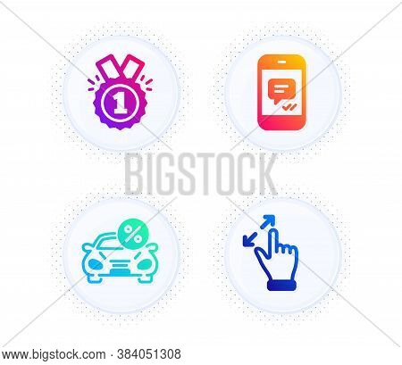Car Leasing, Message And Approved Icons Simple Set. Button With Halftone Dots. Touchscreen Gesture S