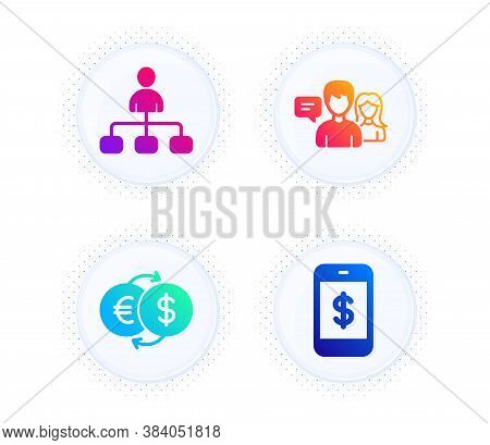 Management, Money Exchange And People Talking Icons Simple Set. Button With Halftone Dots. Smartphon