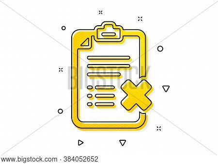 Decline Document Sign. Reject Checklist Icon. Delete File. Yellow Circles Pattern. Classic Reject Ch