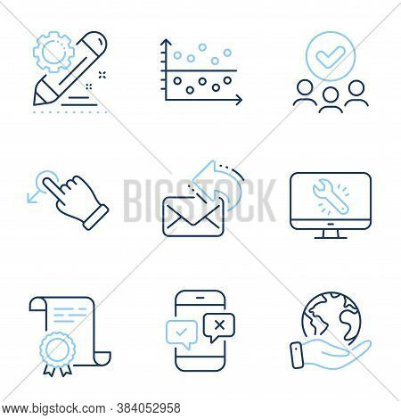 Phone Survey, Share Mail And Monitor Repair Line Icons Set. Diploma Certificate, Save Planet, Group
